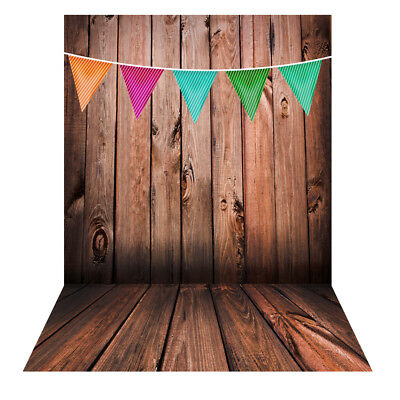 Andoer 1.5*2m Photography Studio Backdrop Wooden Wall Colorful Flag Pattern X1L3