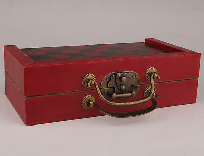Gift Vintage Leather Red Wood Box Old Chess Dragon Game Chess Card