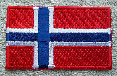 NORWAY FLAG PATCH Embroidered Badge Iron or Sew on 3.8cm x 6cm Norge Scandinavia