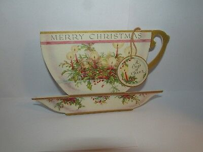 VICTORIAN CHRISTMAS CHINA TEA CUP GREETING CARD c1910 RUST CRAFT BOSTON 15X198