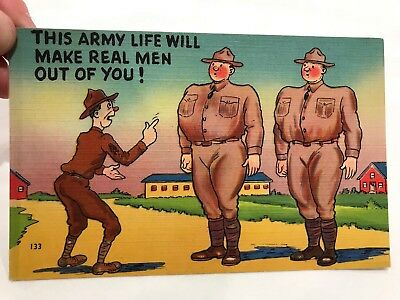 Army Comics Postcard Army Life Real Men Colourpicture Canvas (N)