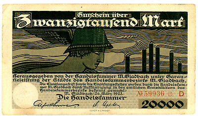 Germany M. Gladbach 20,000 Mark - Chamber of Commerce Notgeld 1923