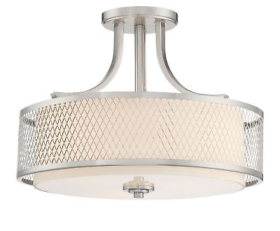 """Revel Linx 16"""" Semi-Flush Mount Ceiling Light Fixture + Outer Mesh Shade and ..."""