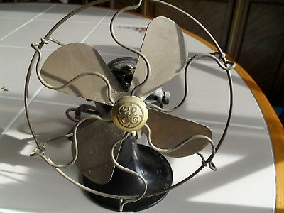 "Antique GE General electric 6"" brass blade fan estate find NICE ONE LOOK"