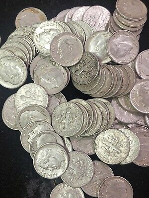 Lot Of 100 Roosevelt Dimes, $10 Face Value. 90% Silver Coins