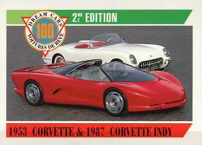 1953 Corvette & 1987 Corvette Indy, Dream Cars Trading Card, Auto - Not Postcard