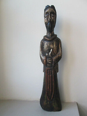 Statue Saint? Guerrier? Bois Polychrome Religion Devotion