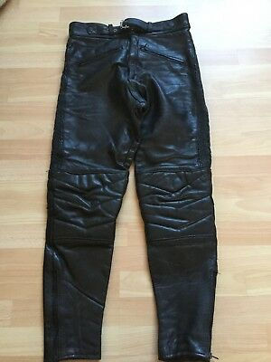 "Skin Leather Motorcycle Trousers, Size 28"" Waist, VGC"