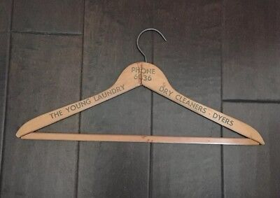 "Vintage Wooden Hanger 17"" The Young Laundry Dry Cleaners - Hawaii"
