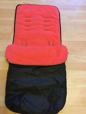 Baby Travel Black & Red Universal Footmuff, Cosy Toes, VGC