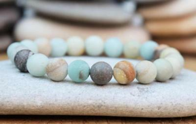 Cuff Unisex 8mm Natural amazonite Stone Bracelets Reiki Monk Gemstone