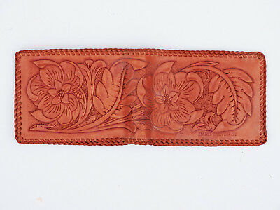 1970s New Vintage Hand Tooled Saddle Leather Wallet Billfold Made in USA