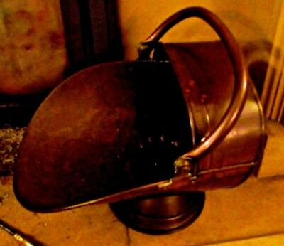 Old Traditionally Riveted Victorian Solid Copper Scuttle