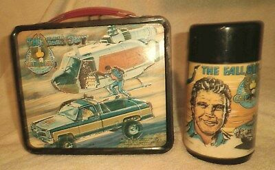 1981, FALL GUY lunch box & thermas. Nice clean condition. Heavy use.