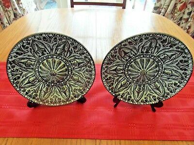 2 Retro Vintage Witches Display Wall Plates From Spain 1970's Hand Made.