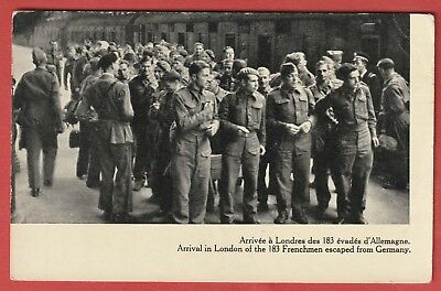 Vintage Postcard - WW2 - Arrival in London of 183 Frenchmen Escaped from Germany