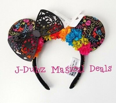 NWT Disney Parks Coco Flower Minnie Mouse Bow Ears Headband
