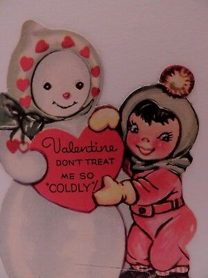"#493 Vintage Valentine Card CHILD & SNOWMAN "" DON'T TREAT ME COLDLY "" 1940'S ERA"