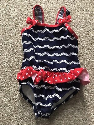 Baby Girl Red, Blue And White Swimsuit With Nappy, Size 3-6 Months