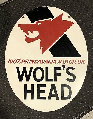 RARE Vintage 1971 Wolf's Head Motor Oil ORIGINAL Car STORE DISPLAY Metal SIGN