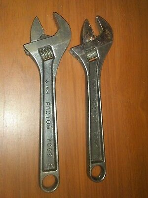 "2 Vintage 6"" Length *** PROTO *** Adjustable Wrench 706-S USA"