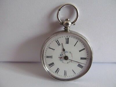 Antique fob pocket watch solid silver very good condition and working + a key