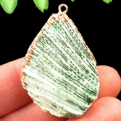 N79054 Wrapped Green Coral Fossil Teardrop Pendant Bead 40x28x10mm