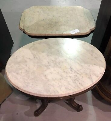 Two 2 LARGE Antique White Victorian Side TABLE on wheels Vintage Marble Top Oval