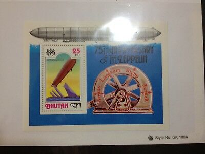 Bhutan 1978 75th Anniversary of Zeppelin Souvenir Sheet MNH