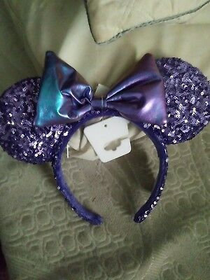 NEW!!! Disney Parks PURPLE Potion SEQUINED Minnie Mickey Ears Headband With Bow