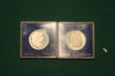 2 1976 Poland 100 Zloty Comm. Silver Proofs American Revolution Heroes!!!
