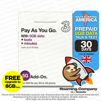 3UK Europe and South America 12GB Data Sim Card + 3000 SMS +3000 minutes 30 days