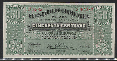 1914 Mexico 50 Centavos Chihuahua Nice Uncirculated.