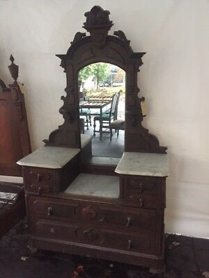 Antique Beautiful Victorian Eastlake Marble Top Dresser with Mirror