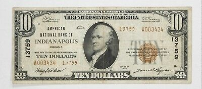 1929 T2 National Banknote $10 Currency Indianapolis Indiana - Choice Vf (434)