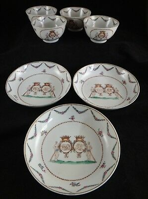 Set of 18th cent. Chinese Export Armorial Porcelain. 4 Cups & 3 Saucers