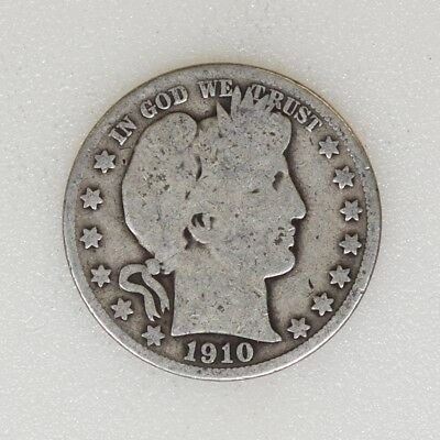 1910-P GOOD Cond Barber Silver Half Dollar Tough Date Nice Color - I-16265 G