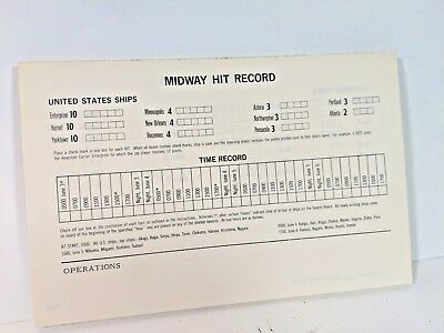Board Game Parts, Midway, Hit Record Sheet, Avalon Hill, 1964