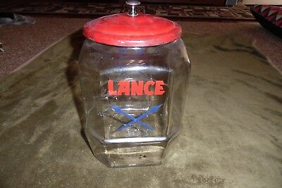 "Vintage 13"" Lance Cracker Glass Jar - 8 sided with Blue Arrows, Red Metal Lid"