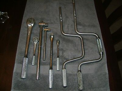 "Vintage JH Williams Tool Lot 1/2"" Ratchet 1/4"" 3/8"" USA CLEAN Speed Breaker Bar"