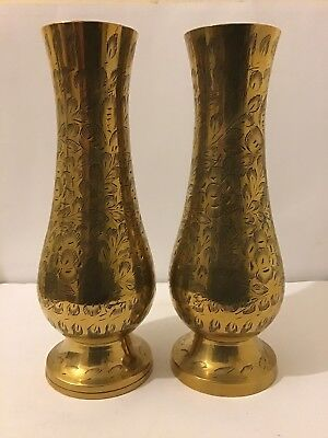 Brass Vases Pair Indian Antique Engraved