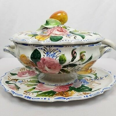 Vintage Italian Hand Painted Ceramic Soup Tureen With Underplate And Ladle