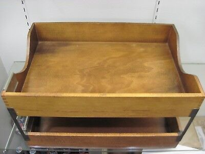 Vintage MCM Wooden Desk File Tray In Out Box Paper Holder Bill Caddy