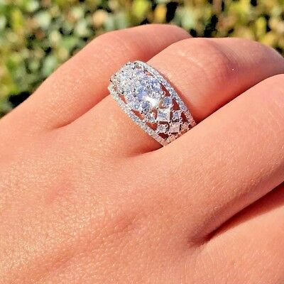 3 Ct Round Cut Moissanite Diamond Solitaire Engagement Ring In 14K White Gold