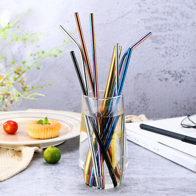 """US 8pcs 10.5"""" Stainless Steel Ultra Long Metal Cocktail Straw + 2 Cleaner Brush"""