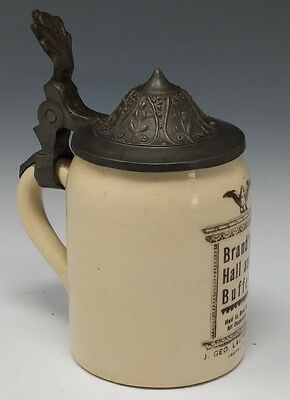 "Antique ca 1900 Miniature 3"" Advertising Stein BRAND'S HALL & BUFFET, CHICAGO IL"