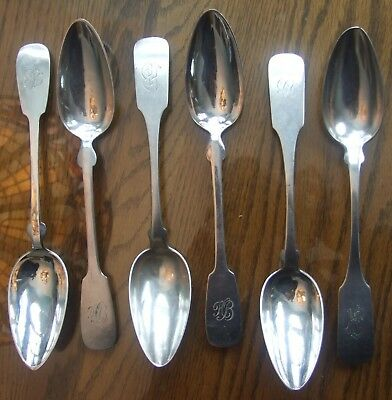 6 Antique German Tablespoons, ca. 1860s