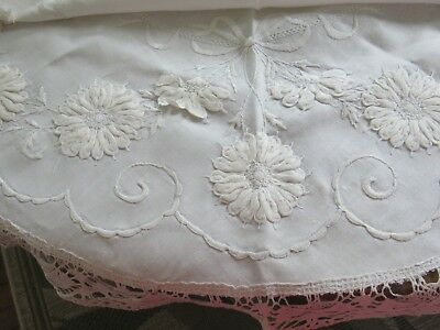 Antique English Linen Embroidery & Lace Round Tea Cloth