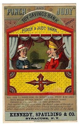 Punch and Judy Toy Savings Mechanical Bank Full-Color Victorian Trade Card