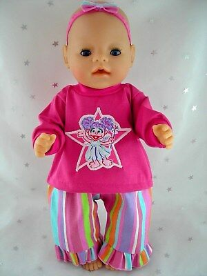 "Dolls clothes for 17"" Baby Born  doll~ABBY CADABBY PINK TOP/ STRIPED PANTS SET"